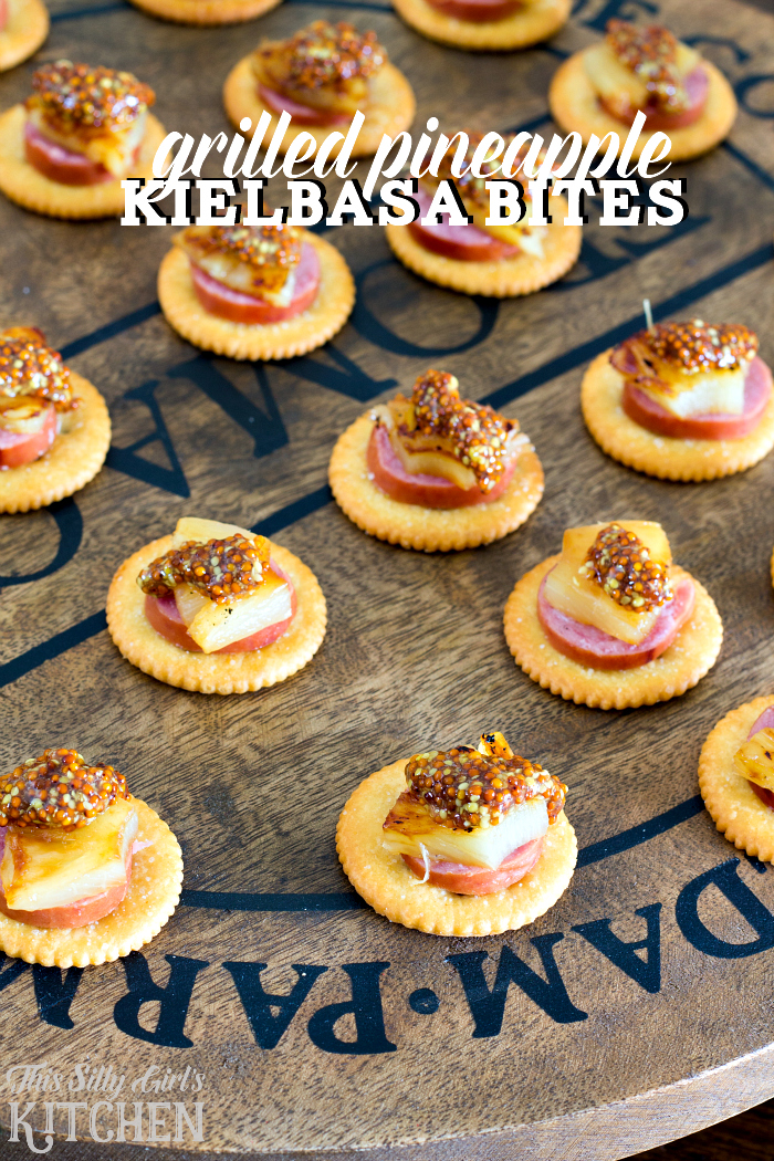 Grilled Pineapple Kielbasa Bites, a simple, easy and delicious holiday appetizer recipe featuring buttery Ritz crackers! Plus holiday appetizer party ideas! from ThisSillyGirlsLife.com #ad #NabiscoPartyPlanner #BringHomeTheHolidays