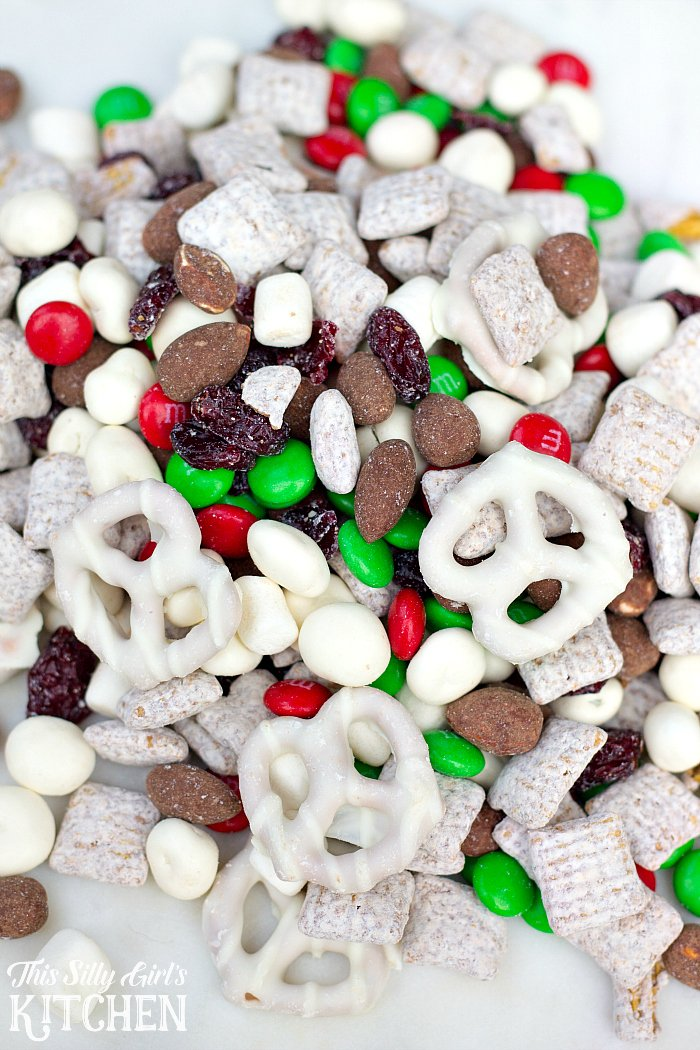 Winter Wonderland Trail Mix, a not-so-healthy trail mix, perfect for walking in a winter wonderland! from ThisSillyGirlsLife.com #trailmix #muddybuddies #reindeerchow