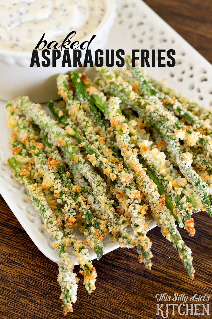 Baked Asparagus Fries, a yummy, healthier version to french fries with a mustard dipping sauce! from ThisSillyGirlsLife.com #asparagusfries