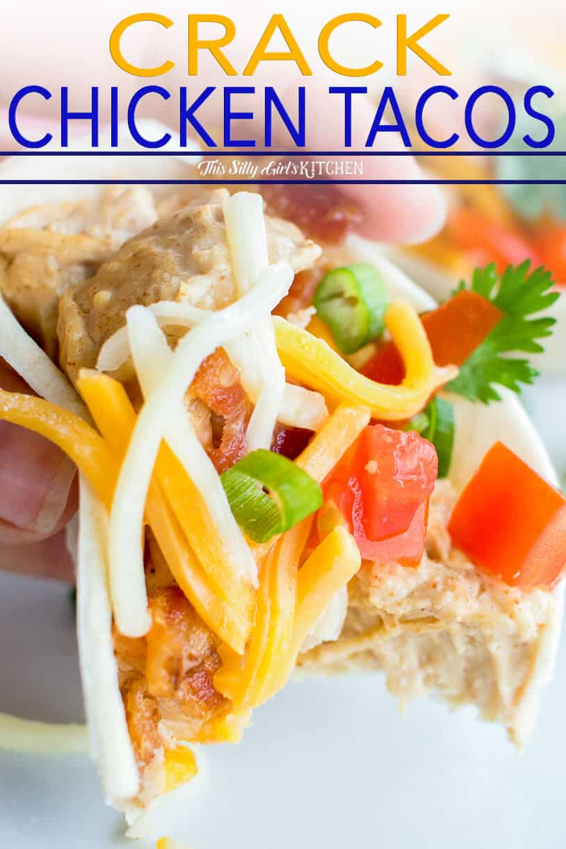 Crack Chicken Tacos, spicy, creamy and addictive. #recipe from thissillygirlskitchen.com #crackchicken #tacos #slowcooker #crockpot #chickentacos