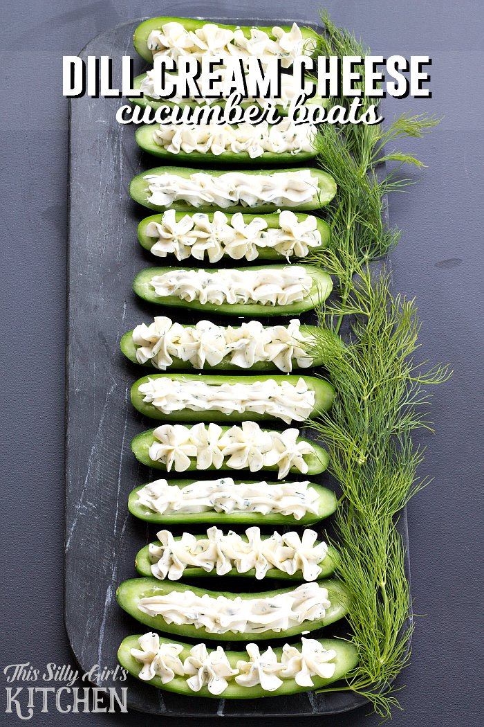 Dill Cream Cheese Cucumber Boats, mini cucumbers stuffed with homemade flavored cream cheese, a great party app or snack! from ThisSillyGirlsLife.com