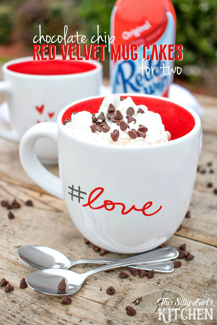 Chocolate Chip Red Velvet Mug Cake for Two, make this fast, sweet treat for your sweetie and you on Valentine's Day! from ThisSillyGirlsLife.com #ShareTheJoy #ad