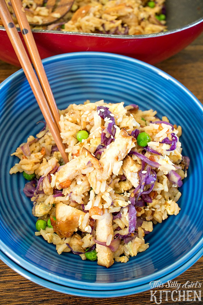 Teriyaki Chicken Fried Rice, full of flavor, perfect for a weeknight meal or side dish! from ThisSillyGirlsLife.com #TeamRice #UnlocktheAwesome #ad