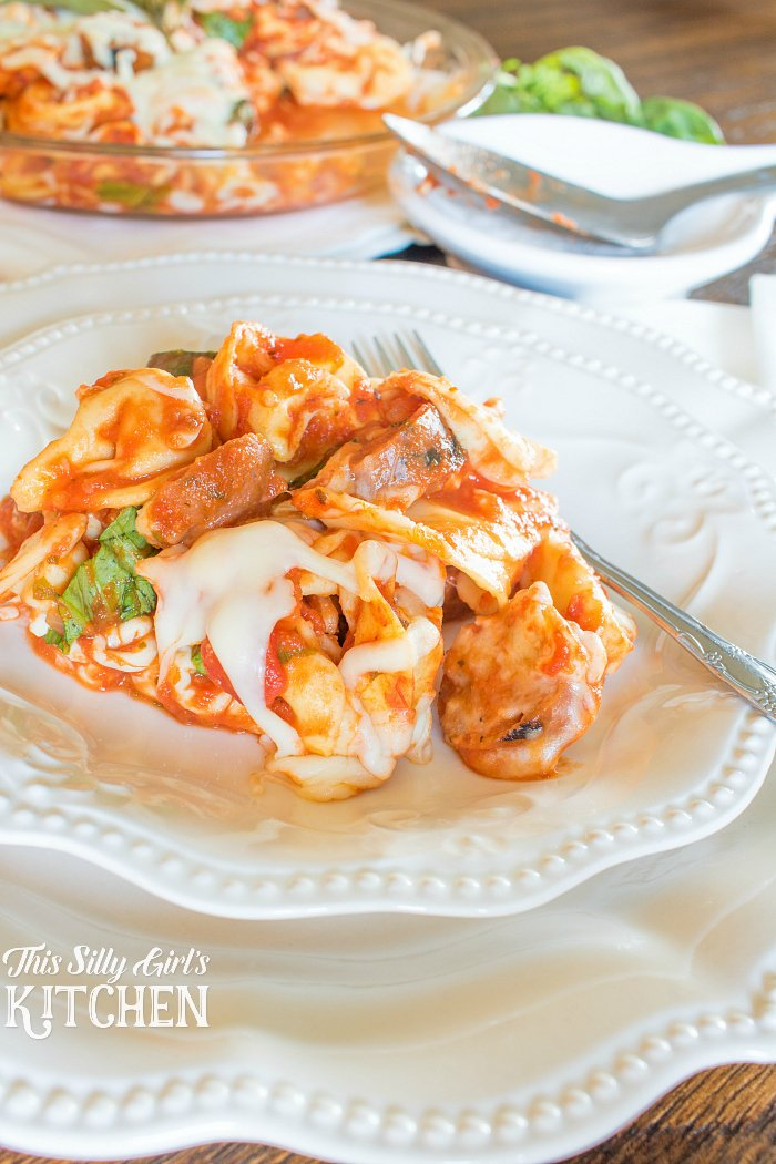 Italian Sausage Tortellini Bake, a quick, easy, DELICIOUS weeknight meal! from ThisSillyGirlsLife.com #ad