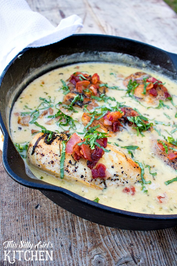 One Skillet Chicken with Creamy Basil Bacon Sauce, an impressive dish but easy enough for weeknight meals! from ThisSillyGirlsLife.com #ad
