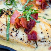 One Skillet Chicken with Creamy Basil Bacon Sauce from This Silly Girls Kitchen feature