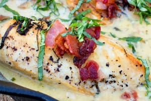 One Skillet Chicken with Creamy Basil Bacon Sauce
