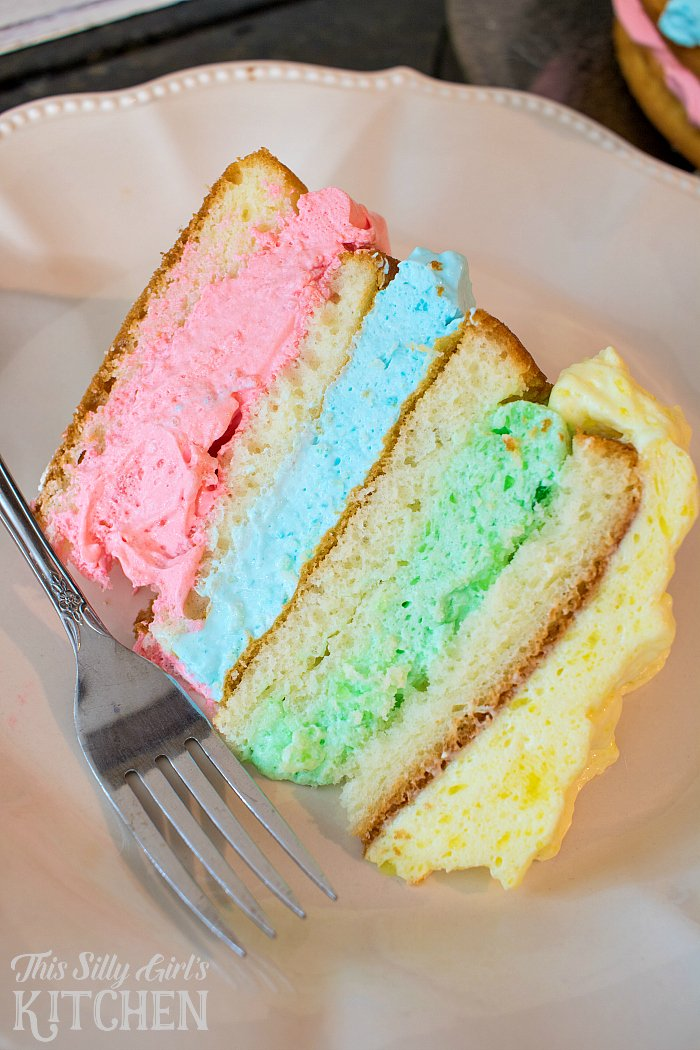 Rainbow Jello Cloud Cake, shared by This Silly Girl's Kitchen at The Chicken Chick's Clever Chicks Blog Hop