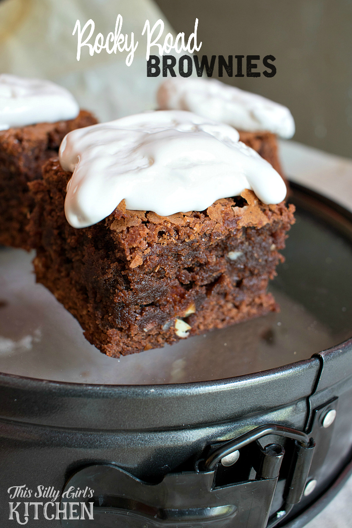 Rocky Road Brownies, thick and chewy brownies loaded with almonds and topped with marshmallow creme. from ThisSillyGirlsLife.com #ad