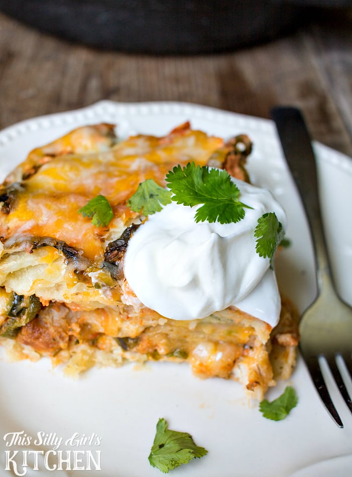"""Stuffed Poblano"" Mexican Lasagna, flavors of traditional stuffed poblanos in lasagna form, with fresh salsa, cheese and chicken! from ThisSillyGirlsLife.com #ad"