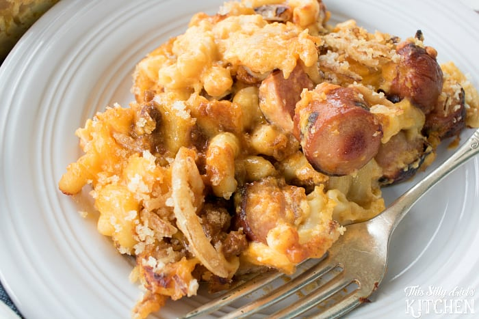 Chili Cheese Dog Mac and Cheese, classic baked mac and cheese is kicked up 10 notches with the addition of grilled Ball Park® Hot Dogs, chili and crispy fried onions! from ThisSillyGirlsLife.com #GrillLegendary AD