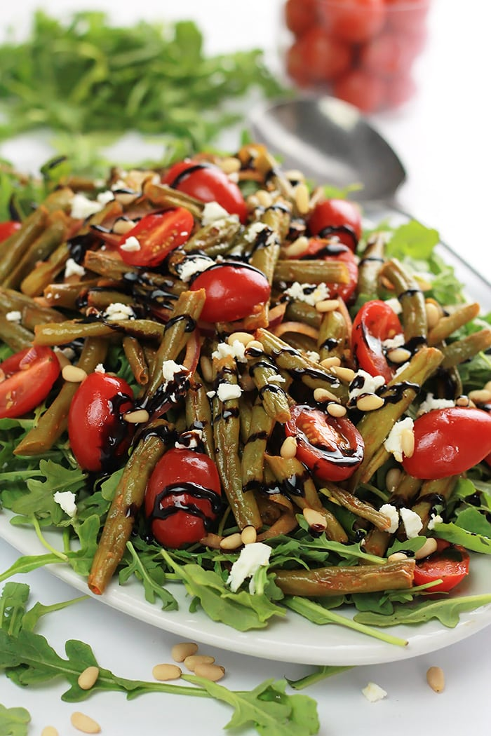 Put some spice in your summer with this Spicy Green Bean Salad, filled with tender-crisp green beans, juicy cherry tomatoes, wrapped in garlic and spice of sriracha.