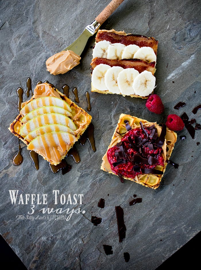 Waffle Toast 3 Ways, kick up your everyday waffle with these yummy toppings, featuring Jif Flavored Spreads! from ThisSillyGirlsLife.com #peanutbutterhappy #ad
