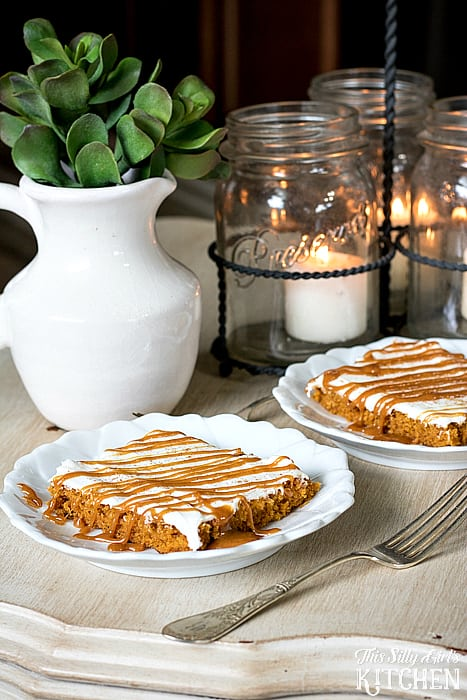 Caramel Pumpkin Sheet Cake, light yet moist pumpkin sheet cake topped off with the best cream cheese frosting and drizzled with pumpkin spice caramel sauce, your fall dessert dream come true! from ThisSillyGirlsKitchen.com @walmart #ad #DelightfulMoments