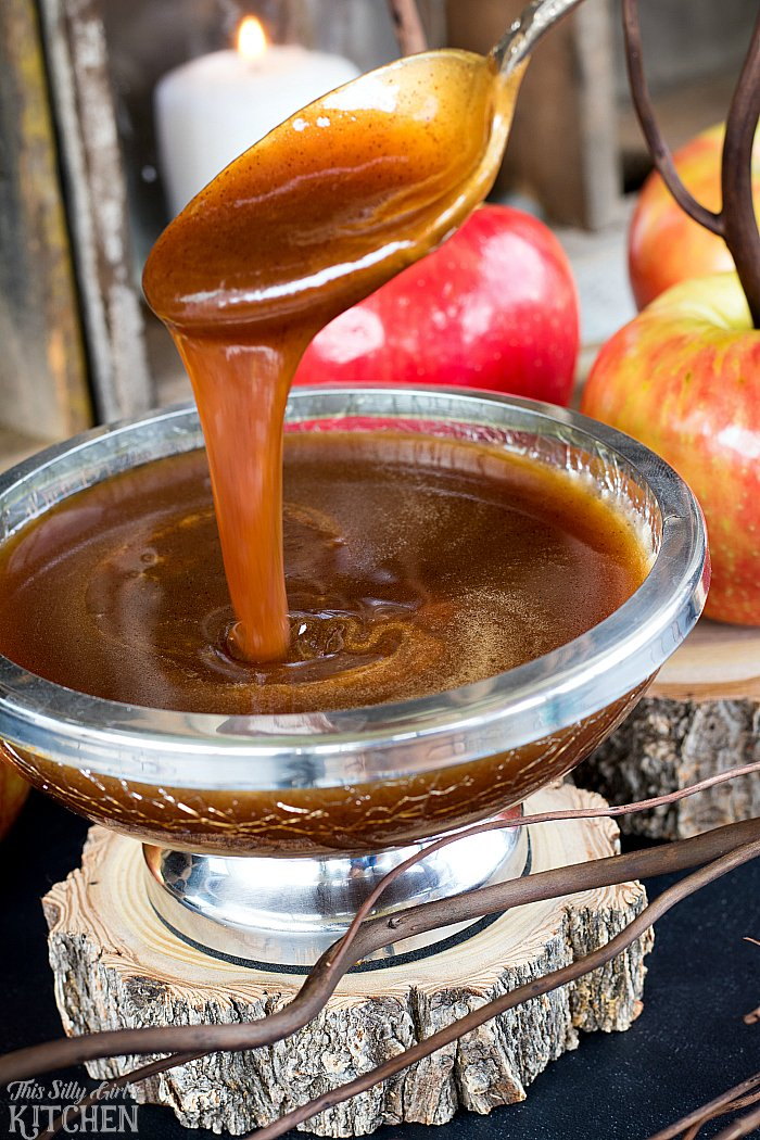 Cinnamon Buttermilk Caramel Sauce, the perfect topping for ice cream, cakes, apples or just eaten by the spoonful! from ThisSillyGirlsKitchen.com