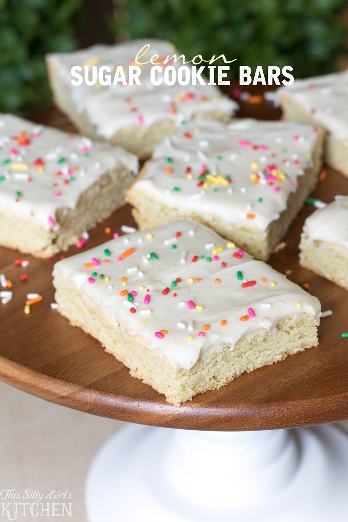 Lemon Sugar Cookie Bars, slightly tart, sweet and delicious with cream cheese frosting. from ThisSillyGirlsKitchen.com #ad
