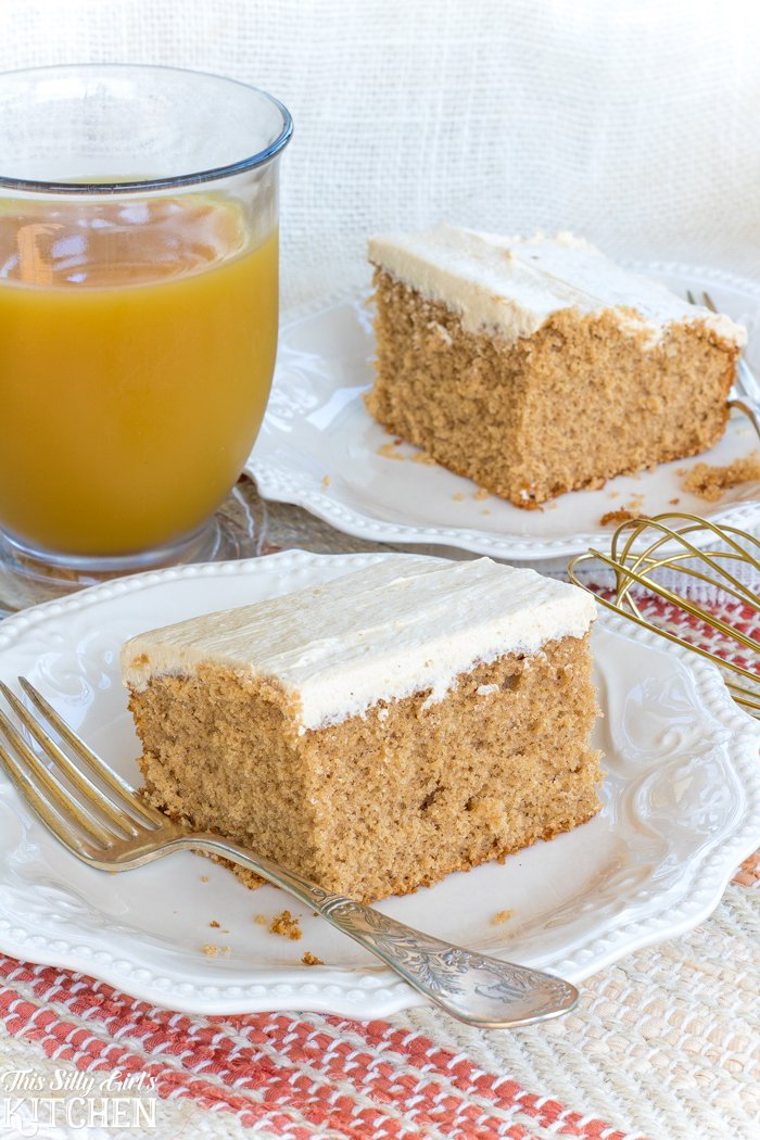 Spiced Apple Cider Sheet Cake, spiced cake infused with apple cider and topped with brown sugar frosting, tastes like fall! from ThisSillyGirlsKitchen.com