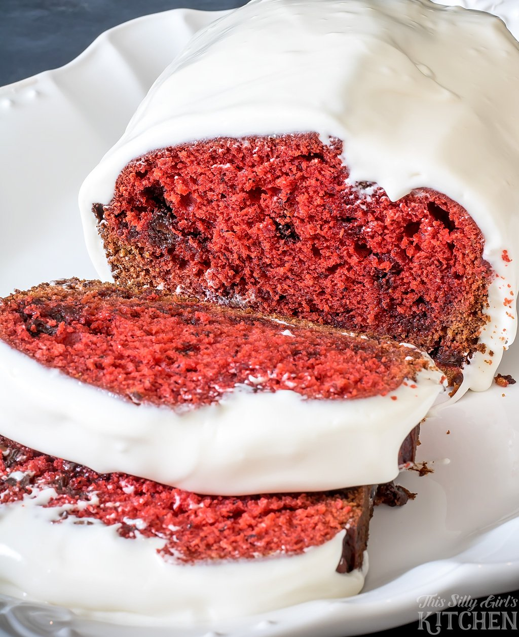 Chocolate Chip Red Velvet Banana Bread - This Silly Girl's Kitchen
