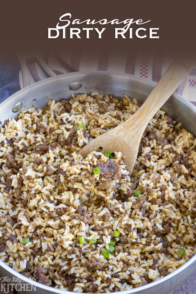 Sausage Dirty Rice, a not-so-dirty rice recipe spin on a classic, loaded with sausage and tons of flavor from ThisSillyGirlsKitchen.com