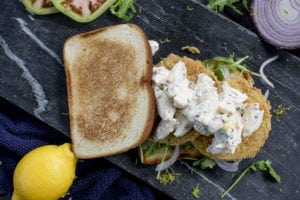 Fried Green Tomato Crab Salad Sandwiches