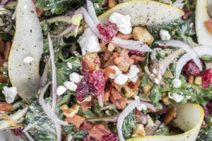 Warm Bacon, Pear and Kalette Salad