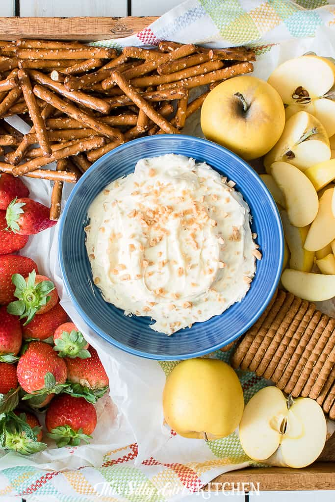 Caramel Apple Dip, a yummy appetizer or after-school snack. #Recipe from ThisSillyGirlsKitchen.com #caramelappledip #fruitdip #dip #appetizer #dessert