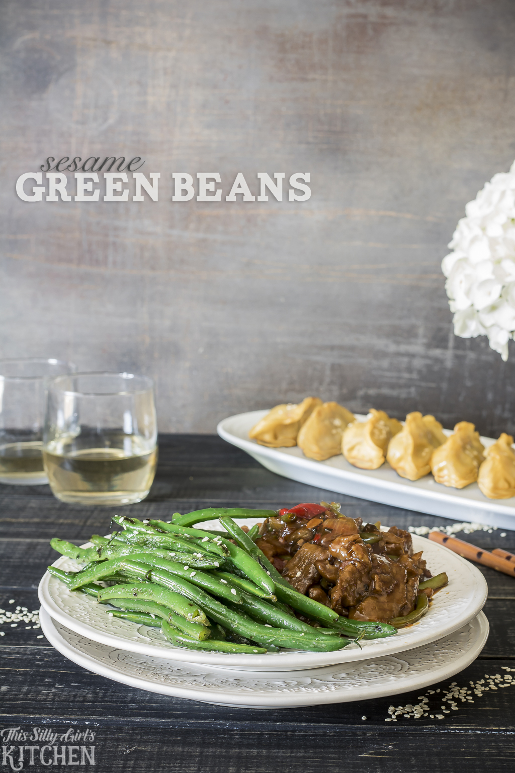 Sesame Green Beans, a simple side dish on the table in under 15 minutes! Recipe from ThisSillyGirlsKitchen.com