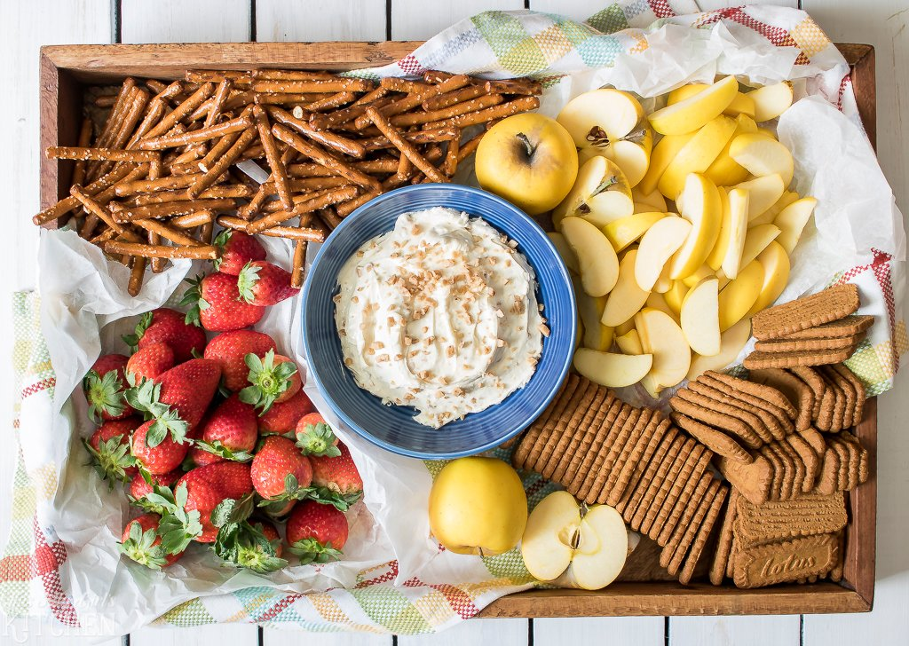 Toffee Fruit Dip, a yummy appetizer or after-school snack. Perfect for dipping fruit, pretzels or cookies! Recipe from ThisSillyGirlsKitchen.com