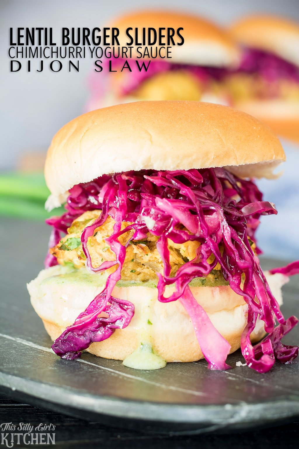Lentil Burger Sliders with chimichurri yogurt sauce and dijon slaw, yum! Recipe from ThisSillyGirlsKitchen.com