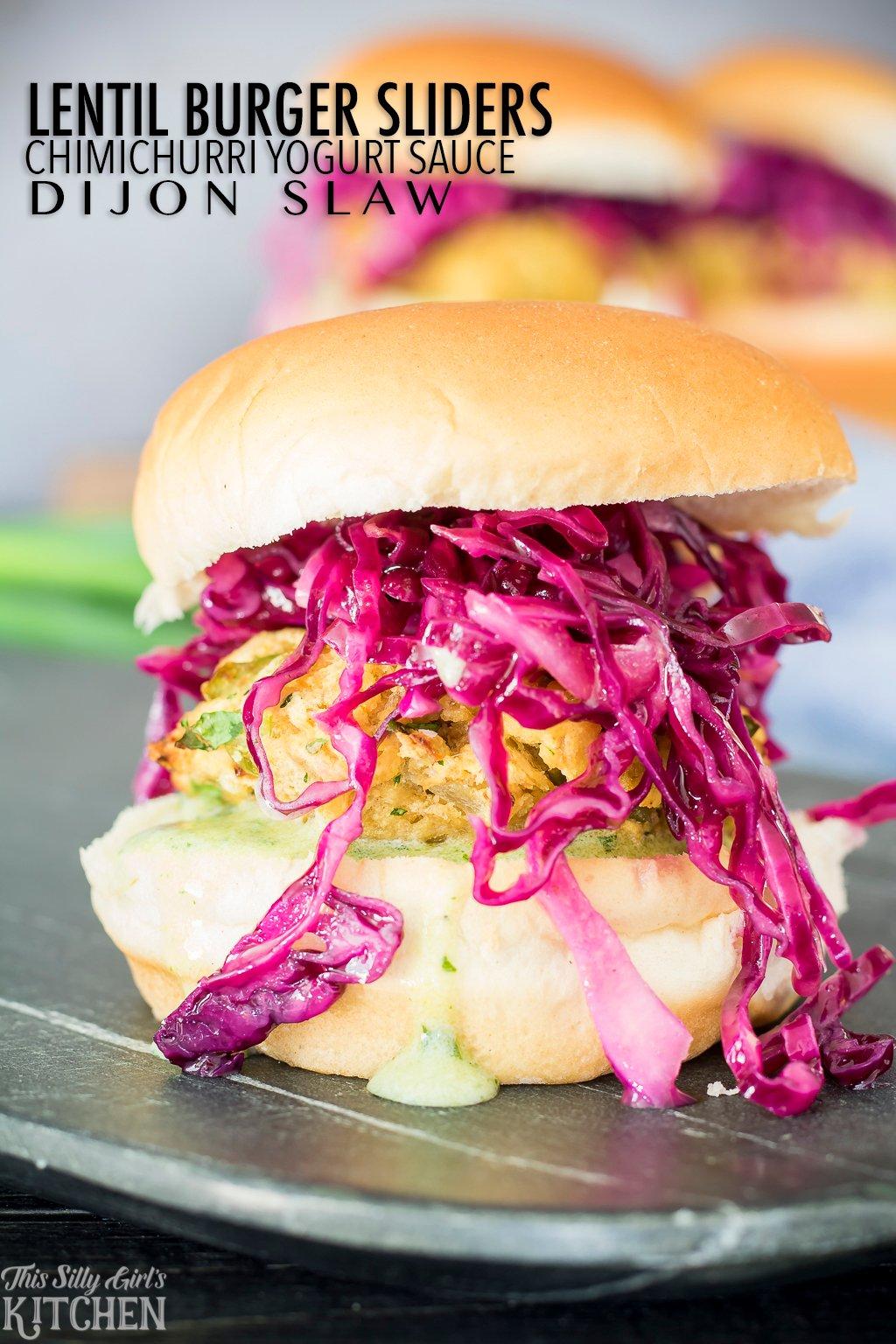 Lentil Burger Sliders with chimichurri yogurt sauce and dijon slaw, yum! Recipe from ThisSillyGirlsKitchen.com