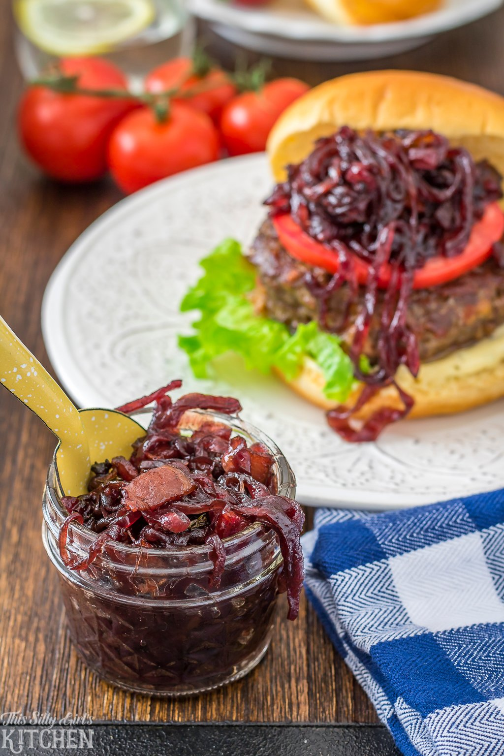 Bacon Red Onion Marmalade, the perfect condiment for burgers to a yummy salad topper! Recipe from ThisSillyGirlsKitchen.com