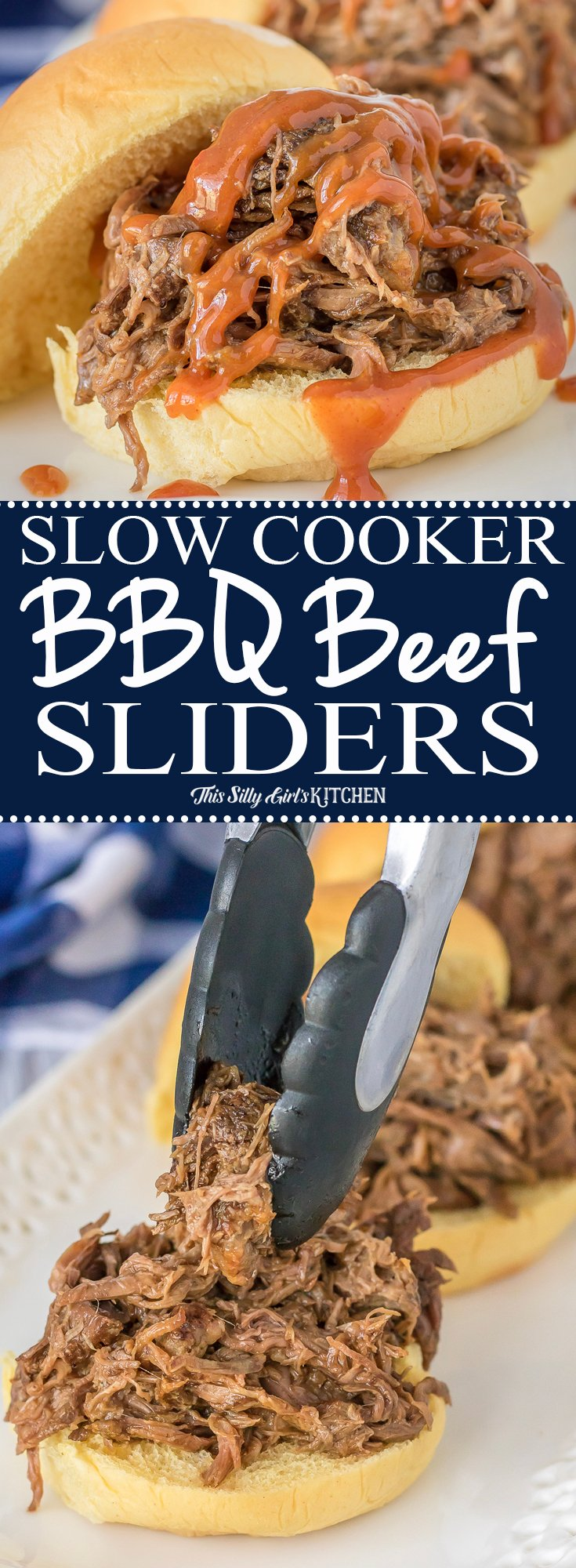 Slow Cooker BBQ Beef Sliders, five-ingredient BBQ Beef (S&P included!!) slow cooked for hours and topped with your favorite BBQ sauce! Recipe from ThisSillyGirlsKitchen.com #bbq #beef #sliders #recipe