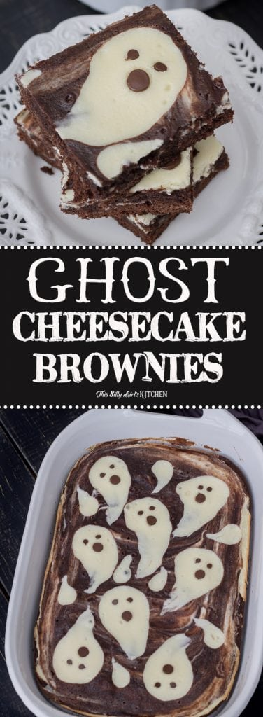 Cheesecake Brownies, made with fun ghost shapes, perfect for #Halloween! Recipe from ThisSillyGirlsKitchen.com