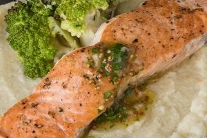 Pan Seared Salmon with Maple Vinaigrette (Starch Alternative!)