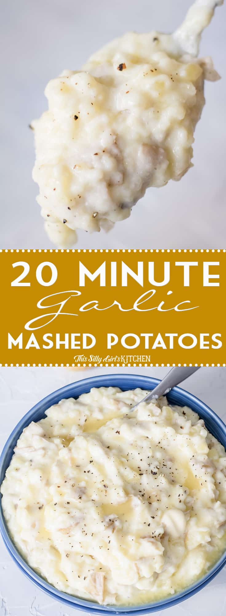Garlic Mashed Potatoes, creamy garlic mashed potatoes ready in just 20 minutes! #Recipe from ThisSillyGirlsKitchen.com #mashedpotatoes #thanksgiving #christmas #garlicmashedpotatoes