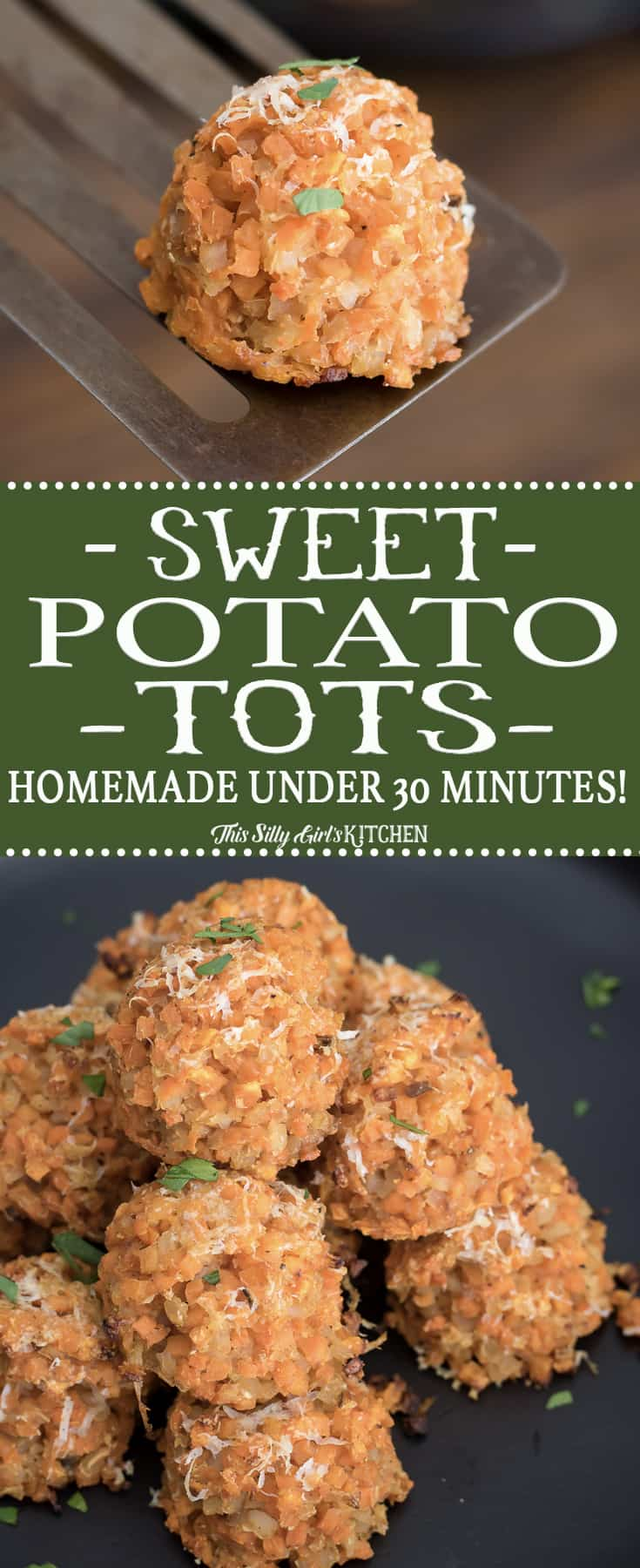 Homemade Sweet Potato Tots, a delicious, flavorful healthy alternative ready in under 30 minutes! #Recipe from ThisSillyGirlsKitchen.com #sweetpotato #tatertots #sweetpotatotots