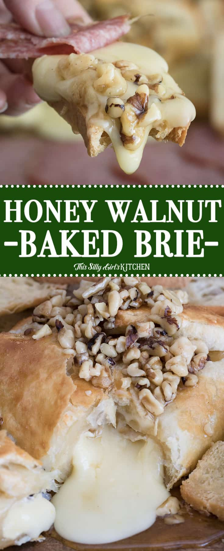 Honey Walnut Baked Brie, ooey gooey cheese wrapped in puff pastry and baked until golden brown, topped with honey and walnuts. #Recipe from ThisSillyGirlsKitchen.com #bakedbrie #christmas #appetizer #puffpastry