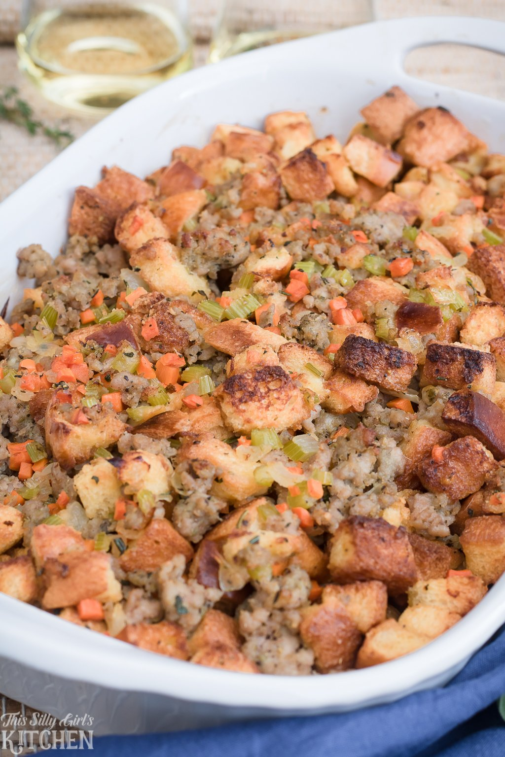 Italian Sausage Stuffing, made with homemade Italian sausage and brioche, a new family favorite! Recipe from ThisSillyGirlsKitchen.com #italiansausage #stuffing #dressing #thanksgiving