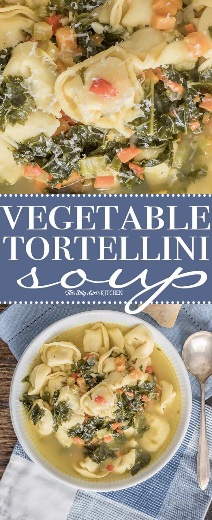 Vegetable Tortellini Soup, a hearty and comforting soup loaded with veggies and cheese tortellini! #Recipe from ThisSillyGirlsKitchen.com #soup #tortellinisoup #vegetablesoup
