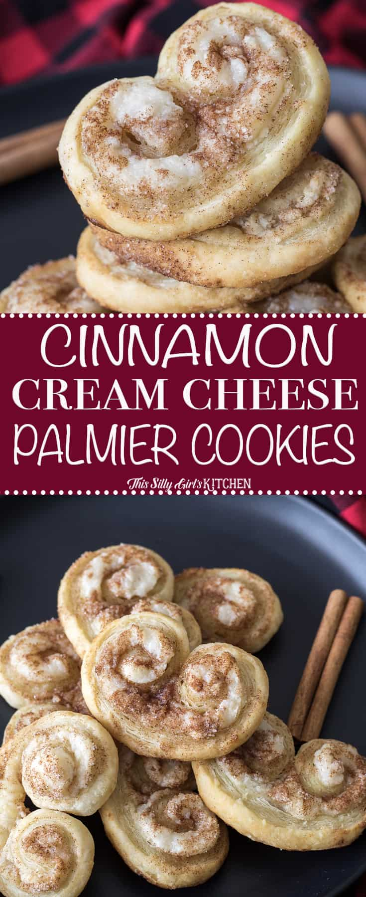 Cinnamon Cream Cheese Palmier Cookies, puff pastry, sweetened cream cheese, and cinnamon sugar baked to golden brown deliciousness! #Recipe from ThisSillyGirlsKitchen.com #christmascookies #cinnamon #creamcheese #palmier #cookies