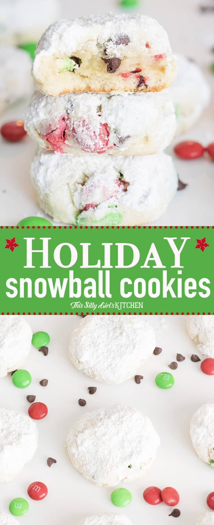 Holiday Snowball Cookies, cream cheese Christmas cookies made with holiday M&Ms! #Recipe from ThisSillyGirlsKitchen.com #christmascookies #snowballcookies #cookies #creamcheesecookies