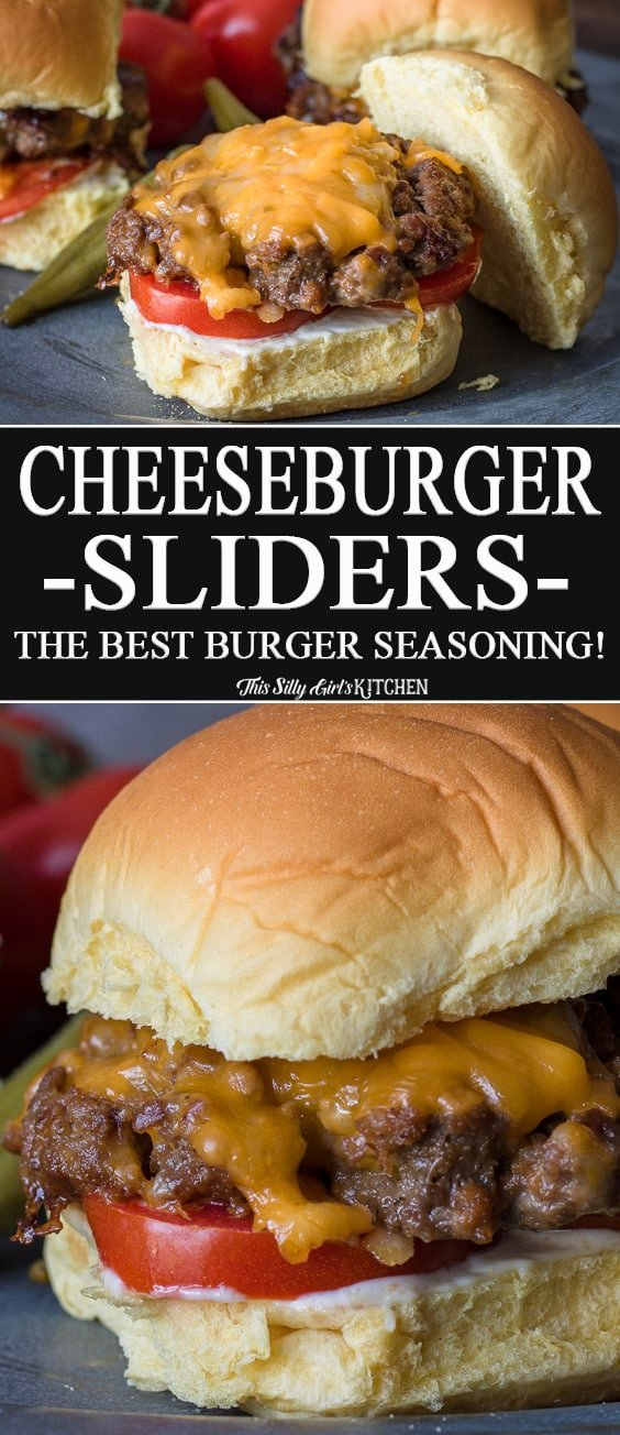 The Best Cheeseburger Sliders Recipe, a recipe for the best burger seasoning! #Recipe from ThisSillyGirlsKitchen.com #sliders #appetizer #burger #cheeseburger