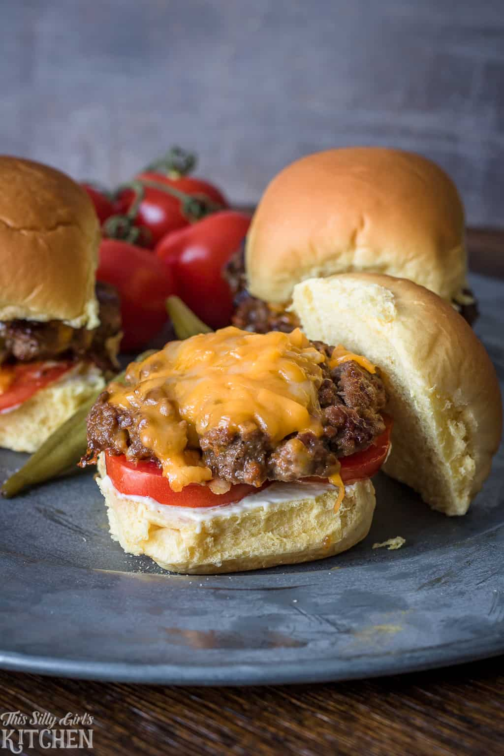 Cheeseburger Sliders Recipe, a recipe for the best burger seasoning! #Recipe from ThisSillyGirlsKitchen.com #sliders #appetizer #burger #cheeseburger