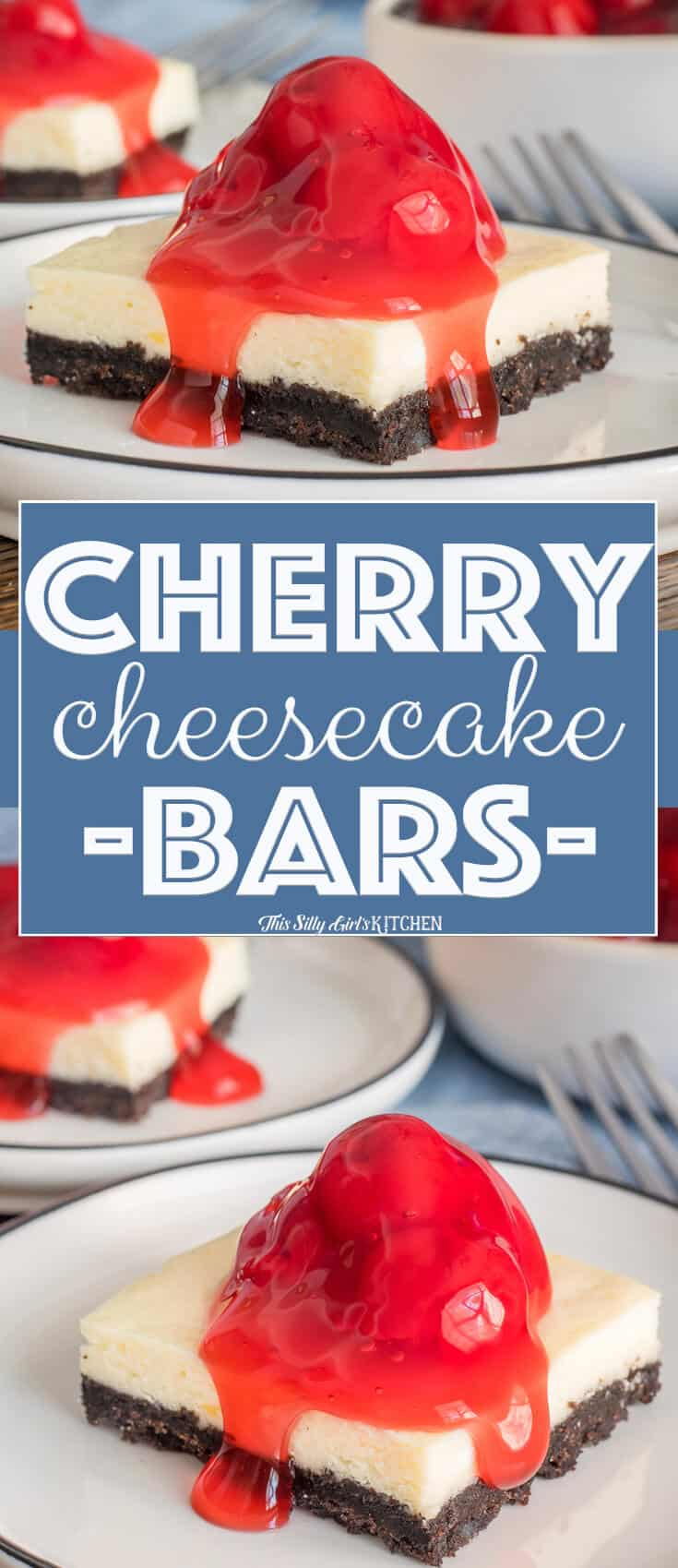 Cherry #Cheesecake Bars, silky cheesecake on an addictive #Oreo crust, topped with cherries! #Recipe from ThisSillyGirlsKitchen.com #cherrycheesecake #cheesecakebars #dessert
