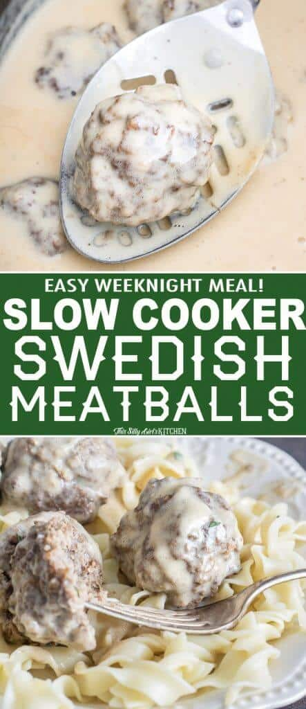 The Best Slow Cooker Swedish Meatballs, spiced meatballs in a luscious sour cream sauce, an easy weeknight meal! #Recipe from ThisSillyGirlsKitchen.com #slowcooker #swedishmeatballs