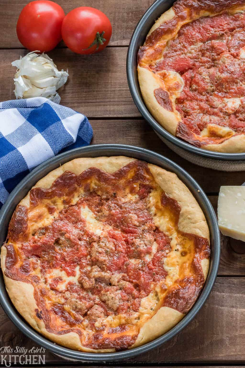 Deep dish pizza is easier to make then you think! #recipe from ThisSillyGirlsKitchen.com #deepdishpizza #chicagopizza #pizza #homemadepizza