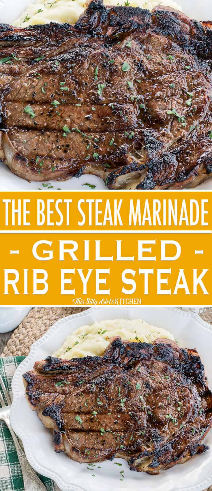 Grilled Rib Eye Steaks, marinated and grilled to perfection, you will make this recipe again and again! #Recipe from ThisSillyGirlsKitchen.com #ribeyesteak #steakmarinade #grilling