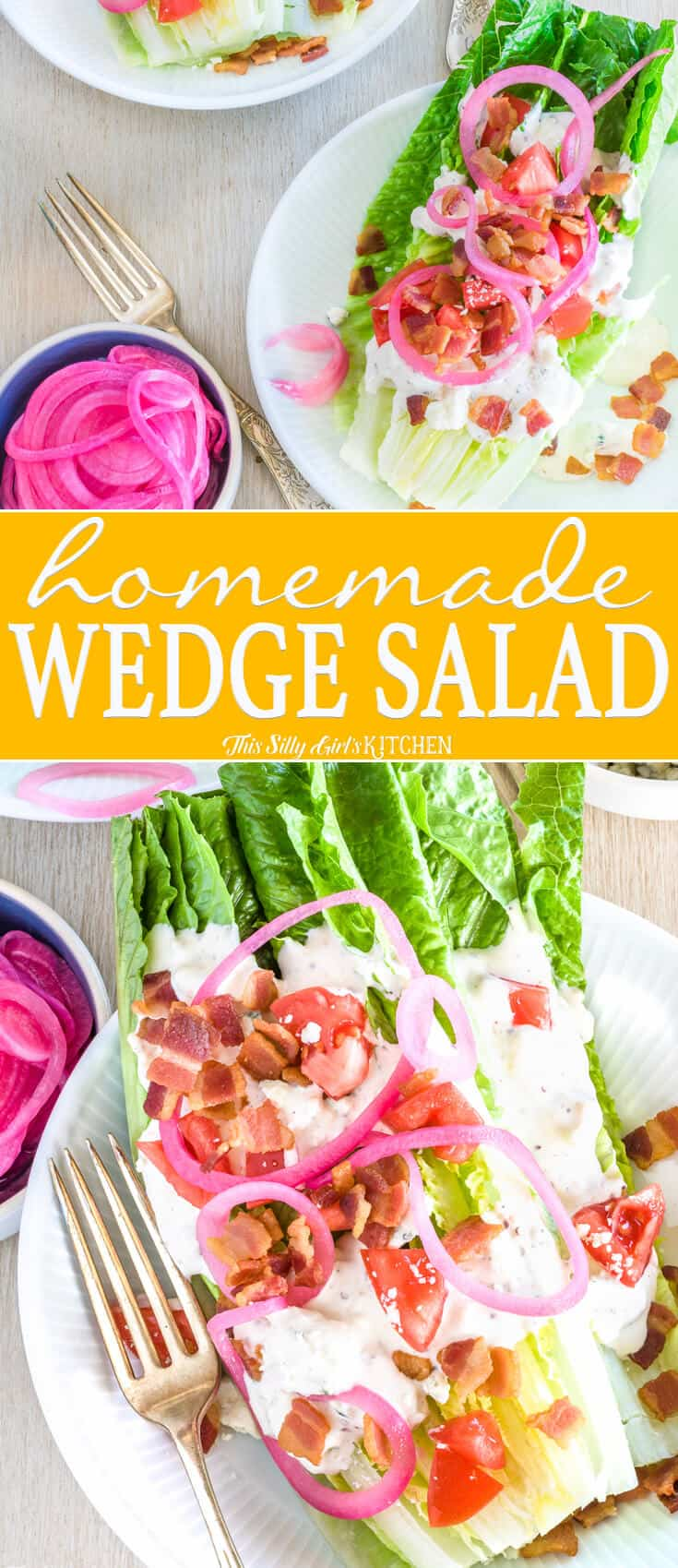 Romaine Wedge Salad, the classic wedge salad updated with pickled onions, homemade blue cheese dressing, and #BACON! #Recipe from ThisSillyGirlsKitchen.com #wedgesalad #salad #lunch #bluecheese