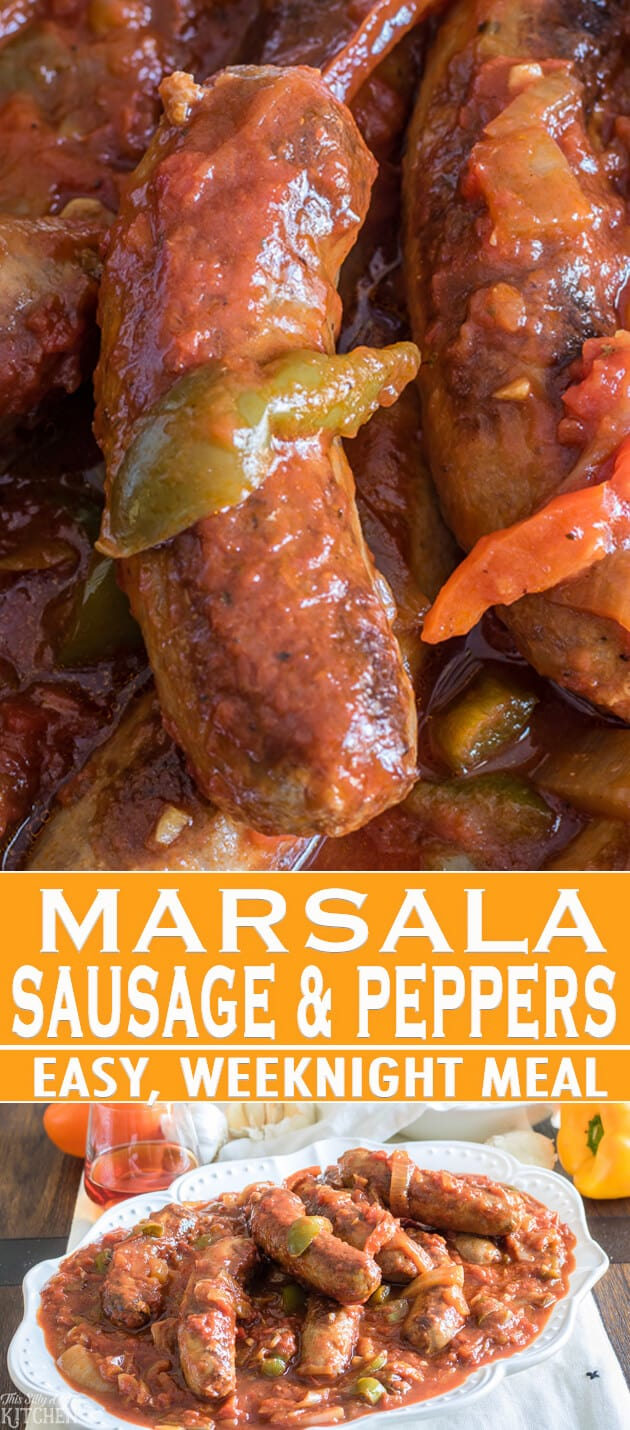 Marsala Sausage and Peppers, Italian sausages in a thick Marsala tomato sauce with sautéed onions and peppers! #Recipe from ThisSillyGirlsKitchen.com #SausageAndPeppers #Dinner #Italian