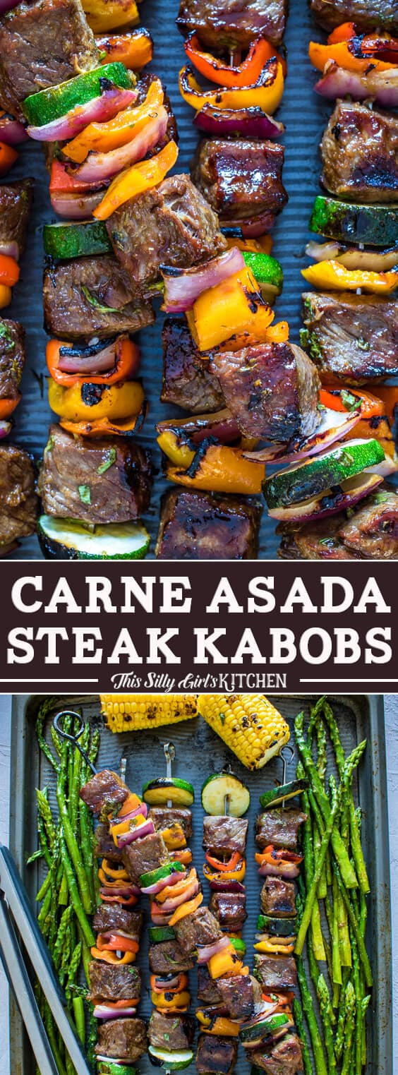 Carne Asada Steak Kabobs, NY strip marinated in the BEST marinade with lots of yummy veggies! #Recipe from ThisSillyGirlsKitchen.com #kabobs #steakkabob #carneasada